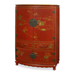 "China Furniture and Arts - Chinoiserie Scenery Design TV Armoire - 18th-century pavilion and mountain peak motifs are magnificently hand painted in gold Chinoiserie against a rich satin red finish. The design continues along the sides of this wooden TV cabinet. The main compartment measures approximately 38""W x 18""D x 25""H, with a 5""H built-in shelf. The lower double door compartment (interior 38""W x 21""D x 12""H) features a removable shelf for storage convenience. Two drawers (each 16.75""W x 15.75""D x 4.75""H interior) in the middle provide additional storage space for small media components. Hand-forged solid brass hardware. Additional media cable outlets can be made upon request. Assembled."