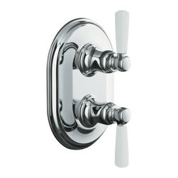 KOHLER - KOHLER K-T10594-4P-CP Bancroft Stacked Thermostatic Trim with White Ceramic Leve - KOHLER K-T10594-4P-CP Bancroft Stacked Thermostatic Trim with White Ceramic Lever Handles in Polished Chrome, Valve Not IncludedReminiscent of the traditional elegance of early 1900s American design, the Bancroft(R) Suite embodies a nostalgic aesthetic that achieves universal appeal for today's bathroom. This Bancroft thermostatic valve trim features stacked white ceramic lever handles. Its classic lines and solid brass construction provide enduring beauty for a complete, coordinated look.KOHLER K-T10594-4P-CP Bancroft Stacked Thermostatic Trim with White Ceramic Lever Handles in Polished Chrome, Valve Not Included, Features:• Patented K-joint installation ensures consistent trim appearance, regardless of variability in valve rough-in