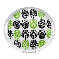 """Q Squared NYC - 13.5"""" x 14"""" Oval Tray w/ Handles Victorian - White/Green & Black Emblems - This playful serving tray combines old-school Victorian design with modern materials, for an easy-care combination that's deceptively stylish. Made of lightweight melamine, it's durable and heat resistant — just pop it into the dishwasher after use. Perfect for entertaining indoors or out."""