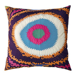 Embroidered Tranquility Pillow - Artistic and luxurious, this pillow's design welcomes the good times while sending the bad energy away. Made from 100% cotton, the vibrantly embroidered pillow will add a soothing vibe to any room. Toss one on a couch, chair, or bed for a tranquil and cozy splash of design.