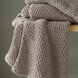 Eileen Fisher - Eileen Fisher Baby Alpaca Knit Throw - This hand-knit textural seed stitch throw blanket by Eileen Fisher in a versatile gray melange adds casual elegance to any room. Experience the exceptional warmth and unparalleled softness of a throw made out of one of the most luxurious fibers in the world. The warmest and softest of the alpaca fibers, baby alpaca is the first shearing of the alpaca from high in the Peruvian Andes. Lanolin-free, it does not attract dust and allergens, making it a naturally hypoallergenic alternative for sumptuous warmth. Size: 40 in. x 70 in. By Eileen Fisher Home exclusively for Garnet Hill.