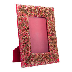 Sitara Collections - Red and Gold Fabric Picture Frame Embellished with Crystals and Embroidery - Tired of the Same Old Picture Frames? this Red-Hot Versiom Showcases Your Favorite Photos Like Never Before, with Eye-Catching Charm Thats Sure to Draw Oohs and aahs. Superbly Embroidered in Complementary Pink and Coffee Hues, our Fun Frame Enlivens any Decor. Picture Frame Measures 7 inches Wide X 9 inches High. Easel Back to Stand Frame om Table. Embellished with Embroidery and Crystals. Image Size Fits a Picture 3.5 inches X 5 inches.