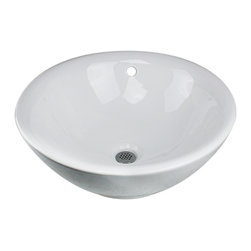 """Nantucket Sinks - Nantucket Sink NSV218 Ceramic Lavatory Sink - Add a touch of contemporary style to any bathroom decor with the Nantucket Sinks NSV218, this 17 inch vessel sink is constructed of easy to clean vitreous china. This sink has a 1.75"""" drain diameter."""