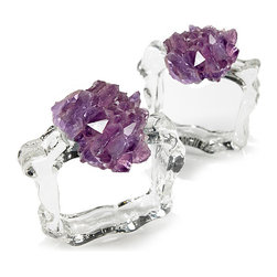 Ardana Napkin Rings - Amethyst - Handcrafted napkin rings bring elegance to a table with a personality all their own, yielding a dinner party with chic panache.  The glitter of the Ardana Napkin Rings is twofold.  First, you'll notice the natural piece of unpolished amethyst which crowns each ring, its natural violet hue royally on-trend; then, you'll see the icy shimmer of the clear glass which confines the napkin below, a beautiful contrast which continues an organic look.
