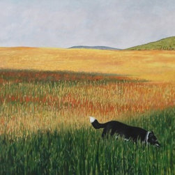 """Missy in the Field"" Artwork - A painting of my late dog, in a field beside my property near Bancroft, Ontario."