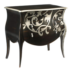 French Heritage - Motif Chest in Black and Silver - Glam up your room with this 19th century, ebony-lacquered bombe chest. The sweeping silver design and curvy shape give it an extra bit of va va va voom.