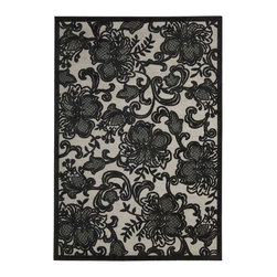 """Nourison - Nourison Graphic Illusions Floral Pewter 3'6"""" x 5'6"""" Rug by RugLots - Striking, bold patterns define this alluring collection of tantalizing rugs. Featuring an exciting hand-carved, high-low texture and contemporary color palette, these attractive area rugs will add a distinctive flair to any setting. Indulge the senses and make a bold statement with these durable and captivating creations for the floor."""
