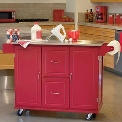 Jefferson Kitchen Cart, Red - If you are looking to add a little retro flair to your kitchen, try this candy red cart with a glossy stainless steel counter. Stainless steel is always a good choice because it is both stain and heat resistant.