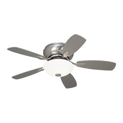 """Casa Vieja - Contemporary 44"""" Casa Habitat™ Brushed Steel Hugger Ceiling Fan - This Casa Habitat™ hugger-style ceiling fan from Casa Vieja® features a trim and compact design making it ideal for use in smaller rooms. This pull-chain model has a brushed steel fan motor finish with an integrated acid and frosted white glass light kit. Change the look of the fan with the reversible silver and white finish blades (pictured with the silver blades). Includes two 60 watt bulbs. 44"""" blade span. 14 degree blade pitch. 153x15mm motor size. 10 Year motor warranty. Measures 11.8"""" height from ceiling to bottom of light kit. Pull chain operation.  Brushed steel finish motor.  Reversible silver / white blades.  Hugger ceiling fan design.  Frosted white glass light kit.  Pull chain operation.  From the Casa Vieja fan collection.  Includes two 60 watt bulbs.   Fan height 6 1/2"""" ceiling to blade.  11 1/2"""" high ceiling to bottom of light kit.  44"""" blade span.   14 degree blade pitch."""