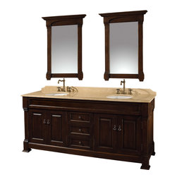 "Wyndham - Andover 72"" Traditional Double Bathroom Vanity Set - Dark Cherry - A new edition to the Wyndham Collection, the beautiful Andover bathroom vanity series represents an updated take on traditional styling. The Andover is a keystone piece, with strong, classic lines and an attention to detail.; The vanity and solid marble countertop are hand carved and stained. Available in Black and Dark Cherry finishes to match any decor. Available in a range of single or double vanity sizes to fit any bathroom.; Dark Cherry Finish; Includes Solid Marble Counter - Ivory; Includes White Porcelain Basins; Includes Backsplash; Includes Matching Mirrors; Fits 72 inch space; Faucets not included; Constructed of environmentally friendly, zero emissions solid oak wood, engineered to prevent warping and last a lifetime; Dimensions: Vanity 72 x 23 x 35; Mirror 28 x 41"