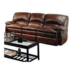 "Coaster - Motion Sofa (Brown) By Coaster - Dimension: 89""W x 38""D x 39""H Seat Depth: 20"" Finish: Brown Material: Bonded Leather, Wood Motion Sofa with Padded Arms and Seats in Brown Bonded Leather Features overstuffed pillow style seats and seat backs. Plush padded armrests and dual reclining for unsurpassed comfort. A rich brown bonded leather wraps this three seat sofa. External handles allow for effortless release of the reclining feature, which includes a Leggett and Platt mechanism for added functionality. Make this durable and comfortable piece yours today to enjoy the superior comfort. Matching motion loveseat and rocker recliner are available separately."