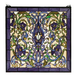 Meyda Tiffany - Meyda Tiffany Floral Fantasy Window X-08266 - This Meyda Tiffany window from the Floral Fantasy Collection features rich, luxurious tones of purple set against a lighter backdrop of yellows and greens. The intricate design is never boring, thanks to its endless curves, floral details and unique charm. Perfect for an array of wall decor needs.