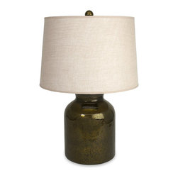 iMax - iMax Malree Glass Jar Lamp X-74202 - A traditional glass jar topped with oatmeal-colored shade, the Malree glass jar table lamp provides soft even light perfect for reading.