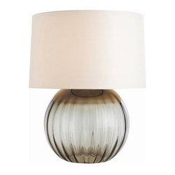 Arteriors Home - Arteriors Home Orville Smoke Gray Optic Glass Table Lamp - Arteriors Home 17302 - Arteriors Home 17302-216 - The Orville table lamp is constructed of optic glass, which is free of impurities and has a high refractive index. The globe like base offers subtle texture and a smoke gray finish. A white parchment shade with diffuser allows for plenty illumination without the glare.