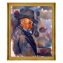 """Paul Cezanne-16""""x20"""" Framed Canvas - 16"""" x 20"""" Paul Cezanne Self Portrait in a Felt Hat framed premium canvas print reproduced to meet museum quality standards. Our museum quality canvas prints are produced using high-precision print technology for a more accurate reproduction printed on high quality canvas with fade-resistant, archival inks. Our progressive business model allows us to offer works of art to you at the best wholesale pricing, significantly less than art gallery prices, affordable to all. This artwork is hand stretched onto wooden stretcher bars, then mounted into our 3"""" wide gold finish frame with black panel by one of our expert framers. Our framed canvas print comes with hardware, ready to hang on your wall.  We present a comprehensive collection of exceptional canvas art reproductions by Paul Cezanne."""
