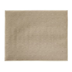 Stark(TM) Concepts Custom Diamond Sisal Rug, Platinum, 9 x 6' - Stark Concepts has made a name for itself by crafting custom-designed rugs and carpets in America for more than 60 years. Our custom rug is created with durable, natural fibers that make it ideal for busy rooms. Neutral hues and a simple, tailored design give this floor decor versatile style. Woven of pure sisal. Durable fiber is ideal for high-traffic areas. Lapped corners. Backed with latex. Use with our Rug Pad (sold separately). Made of imported materials. Cut and sewn in America. Catalog / Internet Only.