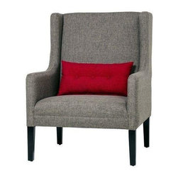 """Pre-owned Casey Contemporary Club Chair in Grey - Had a long day? Need some comfort? Come feel at ease as you sit on the Casey contemporary club chair.   This cozy chair is upholstered with long lasting fabric and designed to deliver comfort and overall style with a rich red buttoned throw pillow.    This is a new, unused item.    Features: tight back and tight seat    Materials: wood, spring, foam, codel, fabric    Fabric : sand granite    Pillow: red (1) 10x24    Dimensions: W: 31 1/2  X D: 33 1/4 X H: 43 1/2    Seat height: 17 1/2     Arm height: 25""""    Legs: 10""""    Finish: black"""