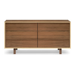 Cherner - Cherner 6 Drawer Dresser - The 6 Drawer Dresser is a richly finished molded plywood low dresser that helps to outfit your home with both style and substance. Classic Walnut pieces are stained with a subtle walnut tint which gives the unit's exposed core and walnut veneer a uniform appearance. Natural Walnut pieces have a clear finish which emphasizes the contrast between the exposed beech core and walnut face veneer.