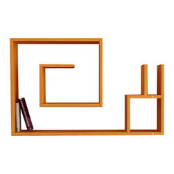 Matte/ Decortie - Salyangoz Wall Shelf, Orange - Simple and effective, this wall mountable bookcase makes an attractive feature for the living room, hallway or bedroom, boasting a maze like shelf structure and compartment to neatly display your books, art and objet.