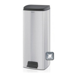 Brabantia Pedal Bin with Motion Control 6.6 Gallon Trash Can - Matte Steel - Able to hold plenty of trash while maintaining its sleek, contemporary look, the Brabantia Waste Paper 25 Litre Pedal Bin - Matte Steel is great for your home or office. Made to conserve space by fitting closely to your wall or corner, this trash bin also features a non-skid bottom which helps to protect your floor. Its removable inner bucket is easy to clean, and a pack of liners are also included. Its light pedal operation makes this bin easy to use while the large opening helps to prevent spills. Additional Features Non-skid bottom protects your floors Space-efficient design Fits closely to the wall or corner Free pack of liners with tie tape (size C) Light pedal operation Lid stays open when opened by hand Lid closes quietly by itself when pedal is used Liners fit perfectly with no ugly over wrap Stainless steel construction resists corrosion Large opening helps avoid spills Lid has a handy front grip 10 year warranty About Brabantia Kitchen and HousewaresBrabantia products are designed for today, but with a strong nod to the future. With a wide line of laundry bags, stainless steel garbage cans, trash cans, ironing boards, and so much more, Brabantia is a company you can rely on for quality.