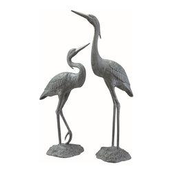 """SPI - Garden Heron Pair - -Size: 34.5'H 27""""H"""