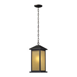 One Light Oil Rubbed Bronze Tinted Seedy Glass Hanging Lantern - This One Light Hanging Lantern is part of the Vienna Collection and has an Oil Rubbed Bronze Finish and Tinted Seedy Glass.  It is Outdoor Capable, and Wet Rated.