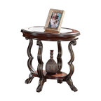 Adarn Inc - Traditional Bavol Sturdy Wood Articular Cherry Accent Sofa Chair Side End Table - Bavol Cherry Finish End Table is constructed with tempered glass, wood veneer, metal and resin. The articular design represents elegant taste and a sophisticated lifestyle, for formal or casual settings.