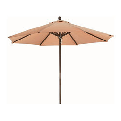 None - Premium 9-foot Round Antique Beige Wood Patio Umbrella - A full nine-foot span will give you all the protection you need with this attractive antique beige wooden patio umbrella. Weatherproof construction with solid wood and durable polyester also provides convenient UV protection from the sun.