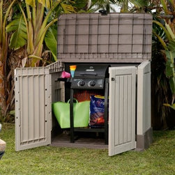 Keter Woodland 30 cu. ft. Storage Shed - From beach-towel-season to jumping-in-piles-of-leaves-season to the 1st of Sled-tober, the Keter Woodland 30 cu. ft. Storage Shed is going to be the go-to sport for all your outdoor storage needs. Perfect for both lawn and garden, this outdoor storage box has a lightweight yet sturdy design of Polypropylene resin construction for long-lasting all-weather durability. This robust material is treated to resist the sun's harshest UV rays, so the gentle, neutral colors won't fade or whiten over time, and the exterior won't peel or rust like metal. The heavy-duty top of our mini resin shed can accommodate up to 16 pounds of snow per square foot, making it ideal for colder climates, while the included floor panel can accommodate 330 lbs. per square foot of weight. Stash beach towels, sporting equipment, patio furniture cushions and other outdoor accessories in this plastic shed from Keter for quick access all year round. Everyone in the family will loving having easy access to trash cans, pool toys, pet accessories and other household essentials. Items can be reached by opening the lid or the two front doors, allowing you to easily reach even the deepest corners of this roomy unit. Our resin shed requires no special care; just wipe with a damp cloth to clean. When it comes to outdoor storage, trust Keter to provide you with high-quality products designed to last. In addition to providing dependable pool storage and a secure, weather-proof home for your outdoor cleaning supplies, toys, patio accessories and more, this handy storage shed is made from recyclable materials to promote sustainability and reduce your carbon footprint.About KeterFor over 60 years, Keter Plastic has proven its commitment to innovation, quality, and design by continually meeting changing needs and trends. Keter's product range reaches a consumer base across the world, focusing on outdoor furniture and storage with a commitment to the environment.