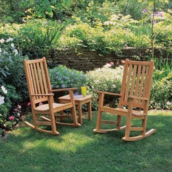 Franklin Rocking Chair Set - This rocking chair combines a truly proud historic look with modern styling touches. Each sturdily built rocking chair reflects traditional English design and is crafted of beautiful durable shorea wood. One of the most important benefits of this wood is that it is resistant to rot and bug damage. With little or no maintenance your rocker will last many years outdoors. Left untreated it will weather naturally to a warm shade of gray. Made for indoors outdoors or covered porch.Shorea Wood: An Eco-Friendly Choice Like teak it's more expensive counterpart Shorea is a high-quality hardwood praised not only for its looks but also for its longevity and resistance to decay. Shorea is hard and dense like teak. In fact it possesses an even tighter wood grain making it heavier denser and harder than teak and both woods are extremely resistant to decay. Shorea wood contains a comparatively high oil content which not only enhances its defenses against the ravages of time and changing climate but also against destructive insect infestations. So if teak and Shorea are so similar why does teak cost up to twice as much? Shorea's lower cost can be attributed to its abundance compared to teak's rarity. This abundance of supply is also what makes Shorea a green choice. Shorea wood is carefully regulated. Only mature trees can be legally harvested. This ensures a steady supply of Shorea wood while also protecting irreplaceable forests. Because Oxford Garden obtains their Shorea wood from superior sources minimal processing is required to bring out the wood's stunning color and grains. This means less chemicals used. Oxford Garden's factories use recycled wood to fuel production kilns. They take steps to conserve natural resources and the result is a smaller carbon footprint. Why Choose Oxford Garden? Exquisite pieces and impressive product assortment aside there are several factors that set Oxford Garden apart from the competition. First Oxford Garden start