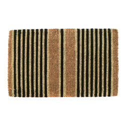 Entryways - Ticking Stripes Black Extra Thick Hand Woven Coconut Fiber Doormat - Designed by an artist, this distinctive mat is a work of art that will add a welcoming touch to any home. It is from Entryways' handmade collection and meets the industry's highest standards. This decorative mat is handsomely hand woven and hand stenciled.