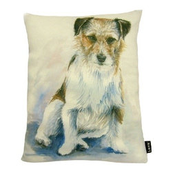 Lava - Painted Jack Russell 16X20 Pillow (Indoor/Outdoor) - 100% polyester cover and fill.  Suitable for use indoors or out.  Made in USA.  Spot Clean only
