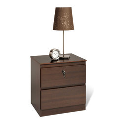 Prepac - Escala Espresso Two-drawer Locking Night Stand - Featuring a rich wood finish,this espresso two-drawer night stand from Escala adds contemporary beauty to any bedroom. With a locking top drawer for added security and metal drawer slides with safety stops,this nightstand blends form and function.