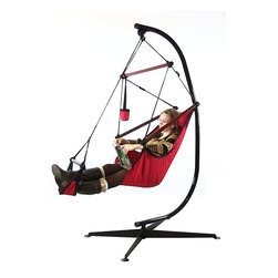 Sunnydaze Decor - Sunnydaze Hanging Hammock Chair W/ Pillow, Drink Holder & Stand Combo, Red - Features of the Hanging Hammock Chair: