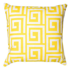 Manual - Pair of Bright Yellow and White Greek Key Print Indoor / Outdoor Throw - This pair of 18 inch by 18 inch woven throw pillows adds a wonderful nautical accent to your home or patio. The pillows have ClimaWeave weatherproof exteriors, that resist both moisture and fading. The pillows feature the same bright yellow and white Greek Key print on both front and back. They have 100% polyester stuffing. These pillows are crafted with pride in the Blue Ridge Mountains of North Carolina, and add a quality accent to your home.
