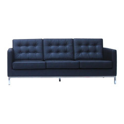 Control Brand - Versatile Leather Sofa (White) - Choose Upholstery: WhiteSeat suspension with no-sag springs. Arm seat and back cushions of variable density foam. Seat and back covering fully welted and tufted with buttons. Solid wood inner frame. Exposed metal frame in polished chrome. Heavy gauge tubular steel legs. Made from cow leather, PU and stainless steel. Made in Malaysia. 80 in. L x 33.5 in. W x 31.13 in. H (110 lbs.)
