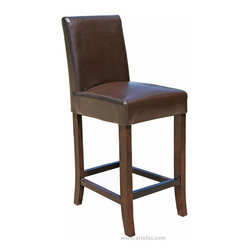 """ARTeFAC - Leather Counter Stool 26"""" Seat Height, Brown - Brown Leather Counter Stool 26"""" Seat Height"""