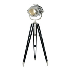 ecWorld - Hollywood Studio 6-Feet Director's Spotlight Black Tripod Floor Lamp - A formidable and impressive piece, the Director's Spot Light is designed to bring Hollywood style and glamour to any room decor. The design features a handcrafted adjustable spotlight style head that can be positioned to direct light right where you need it. The tripod base is inspired by the British surveyor's three-leg stand. Imported.