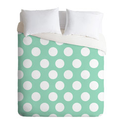 DENY Designs - Allyson Johnson Mintiest Polka Dots Duvet Cover - Turn your basic, boring down comforter into the super stylish focal point of your bedroom. Our Luxe Duvet is made from a heavy-weight luxurious woven polyester with a 50% cotton/50% polyester cream bottom. It also includes a hidden zipper with interior corner ties to secure your comforter. it's comfy, fade-resistant, and custom printed for each and every customer.