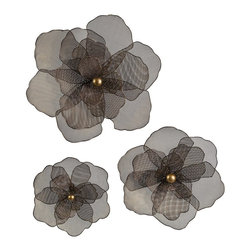 iMax - iMax Astaire Flower Wall Decor - Stylish sheer flowers, displayed in a set of 3 to create an elegant arrangement for your walls.
