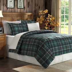 E & E Co., Ltd. - Suttherland Plaid Down Alternative Microfiber Comforter Set - Cozy, warm and ultra-soft, this microfiber comforter boasts a classic Tartan plaid print in green and blue on one side and reverses to a solid dark green on the other for different styling options. The set includes a comforter and coordinating sham(s).