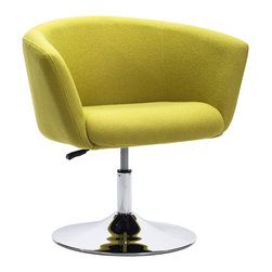 ZUO MODERN - Umea Arm Chair Pistachio Green - The Umea Chair takes its inspiration from modern European design and mixes it with American details such as the soft wool-like texture of the fabric and the vibrant color offerings.  The base is chrome with swivel and adjustable height.