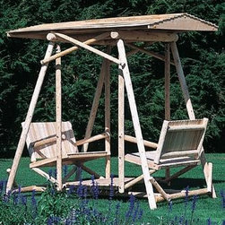 """Lakewood Swing Canopy - Add some shade or protection from a light rain to your Lakewood Swing. Cedar shingled canopy is 84 1/2"""" L, 62 1/2"""" W, 8 1/2"""" H. Swing sold separately. Shipped kit. Motor freight."""