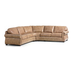 "Randall Allan - Barrington Sectional - The ""L"" will stand for more than the shape. You will love this big, burly sectional for its supple caramel latte leather, the traditional rolled arms and dark bun feet, and all the seating it affords. It will hold your family in the family room — and then some."