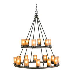 Kathy Kuo Home - Black Wrought Iron Tiered Large 18 Light Candle Chandelier - Like the large iron candle chandeliers seen in the great lodges of the west, this round wrought iron piece delivers beautiful light in a classic form.  Two tiers of 40w bulbs update the candles, while glass shades diffuse the light.  A perfect piece for lodges, lofts and Spanish revival rooms.