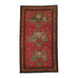 Harooni - Floral Handmade Kazak 5' X 9' Quality Cehchenya Weavers Carpet - Inspired by timeless Kazak designs crafted with the softest Wool available. Genuine Handmade 5 ft. x 9 ft. Kazak Rug from Caucasus Region. Exact size of this Kazak is 4' 9'' x 8' 6'' and it is in Pre-Owned-Very Good (Minor Color Vatiation) condition with predominant Red field color and Orange red border, with the following accent colors: red, gold, green, black. This is 100% Hand Knotted Red 5 ft. x 9 ft. Kazak Rug. It is not machine made, nor hand-tufted, it is authentic hand knotted 5 ft. x 9 ft. Rug, imported from Caucasus Region. Please refer to the last picture (the back of the Rug), which shows the authenticity of the weave.