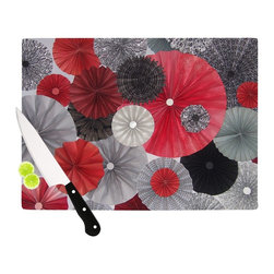 """Kess InHouse - Heidi Jennings """"Kyoto"""" Red Black Cutting Board (11.5"""" x 15.75"""") - These sturdy tempered glass cutting boards will make everything you chop look like a Dutch painting. Perfect the art of cooking with your KESS InHouse unique art cutting board. Go for patterns or painted, either way this non-skid, dishwasher safe cutting board is perfect for preparing any artistic dinner or serving. Cut, chop, serve or frame, all of these unique cutting boards are gorgeous."""