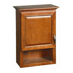 """DHI-Corp - Montclair Chestnut Glaze Wall Cabinet with 1-Door and 1-Shelf, 30"""" by 21"""" - The Design House 538587 Montclair Chestnut Glaze Wall Cabinet is made of a solid wood door frame and finished in a chestnut glaze with a water resistant coat. This product features bronze hardware, particle board side panels and concealed hinges. Open shelf construction is perfect for additional storage or decoration with picture frames or candles. Easily adjust shelves inside this cabinet to store your personal items and reversible doors make installation easy. Measuring 31-inches by 23.750-inches by 10.390-inches, this cabinet fits in a medium sized bathroom while providing storage for towels and cleaning supplies. This product comes pre-assembled and features a modern aesthetic that matches traditional furnishings and granite tops. The Design House 538587 Montclair Chestnut Glaze Wall Cabinet has a 1-year limited warranty that protects against defects in materials and workmanship. Design House offers products in multiple home decor categories including lighting, ceiling fans, hardware and plumbing products. With years of hands-on experience, Design House understands every aspect of the home decor industry, and devotes itself to providing quality products across the home decor spectrum. Providing value to their customers, Design House uses industry leading merchandising solutions and innovative programs. Design House is committed to providing high quality products for your home improvement projects."""
