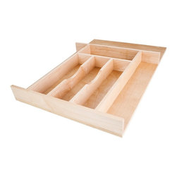Hardware Resources - Cutlery Drawer Inserts (Small), Small - Choose Size: Small. For use in 15 in. wide x 22 in. deep drawers. Can be trimmed to minimum 9.43 in. wide x 15.37 in. deep. Solid double UV coating. Made from hard maple. Made in USA. Each section: 2.62 in. W. Small: 14.62 in. W x 22 in. D x 2.25 in. H. Large: 20.87 in. W x 22 in. D x 2.25 in. H