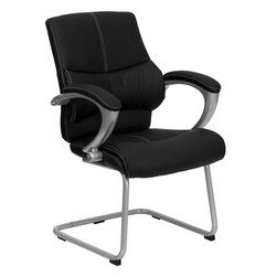 Flash Furniture - Flash Furniture Black Leather Executive Side Chair - H-9637L-3-SIDE-GG - This black Mid-Back Office side chair features soft leather upholstery with baseball glove stitching. chair features built in lumbar support, a well-padded seat and back, and padded loop arms complete this stylish addition to your office. [H-9637L-3-SIDE-GG]